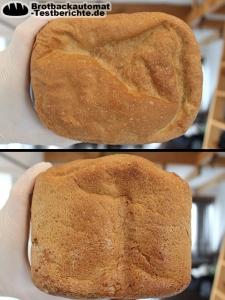 Das gebackene Brot bekommt eine schöne Kruste wird aber auch nicht zu dunkel.