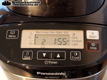 Panasonic SD ZB2512KXE Brotbackautomat Test Display