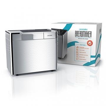 Arendo Edelstahl Brotbackautomat | vollautomatische Brotbackmaschine | 12 Backprogramme | LCD-Display (blau beleuchtet) | Warmhalte- & Knetfunktion/Timer | glutenfreies Backen | antihaftbeschichtete Backform -