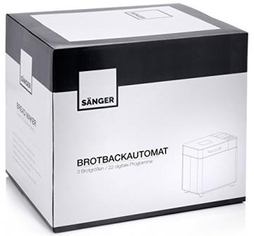 Sänger Brotbackautomat Premium aus Edelstahl | 22 Backprogramme voreingestellt, sowie Timer, Warmhalte- und Knetfunktion | Für 3 Brotgrößen 500, 750 und 1000 Gramm | 3 Bräunungsgrade auswählbar | Mit Touch Display -